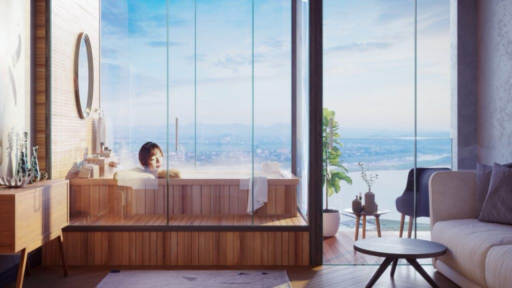 Mô Hình tắm Onsen tại Wyndham Thanh Thủy
